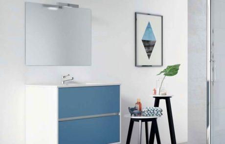 Mueble blanco y azul de dos cajones