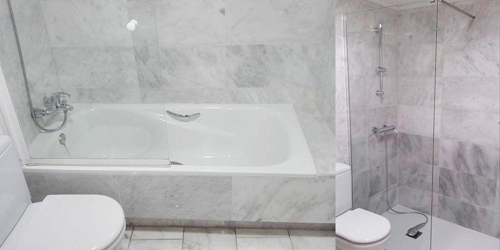 Antes y después cambio bañera por ducha - SoloDucha